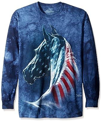 e9c48df411 Amazon.com: The Mountain Patriotic Horse Head Adult Long Sleeve T ...