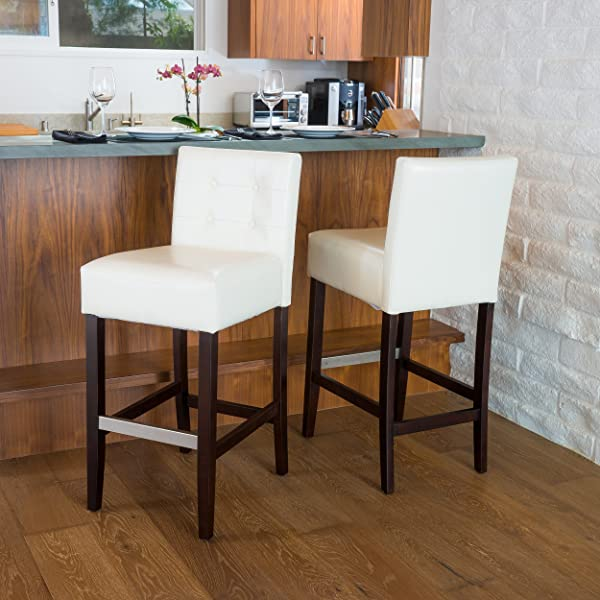 Best-selling Theodore Tufted Leather Back Bar Stools, White