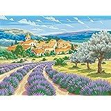L'Art et la Manière Peinture au numéro motif Lavande de Provence 30 x 40 cm Couleurs Assorties