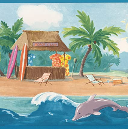 Surf S Up Beach Palm Trees Sea Dolphins Wide Nautical