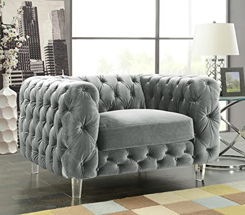 Iconic Home Modern Contemporary Tufted Velvet Down-Mix Cushons Acrylic Leg Club Chair