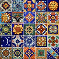 50 Hand Painted Decorative Talavera Mexican Tiles 2x2