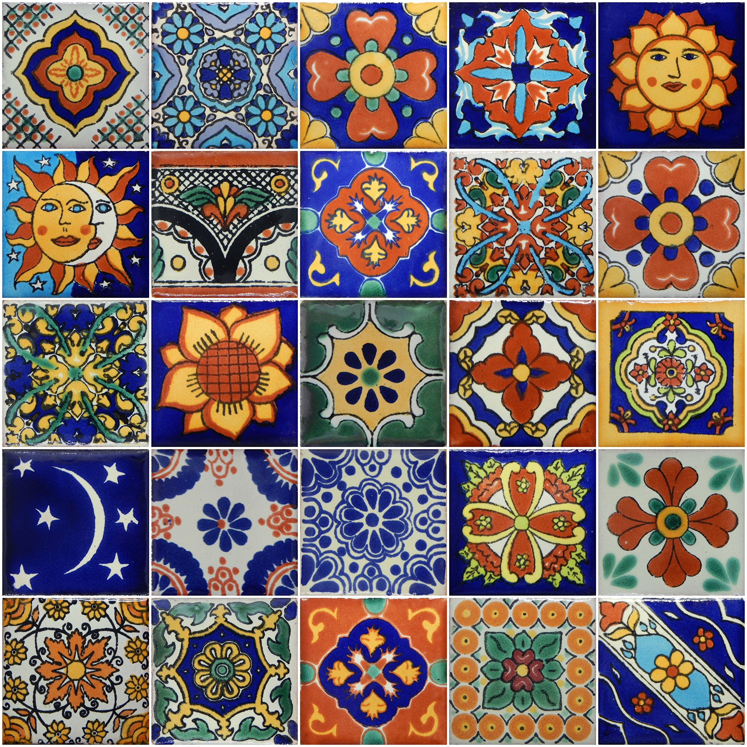 Color y Tradicion 50 Hand Painted Decorative Talavera Mexican Tiles 2''x2'' by Color y Tradicion