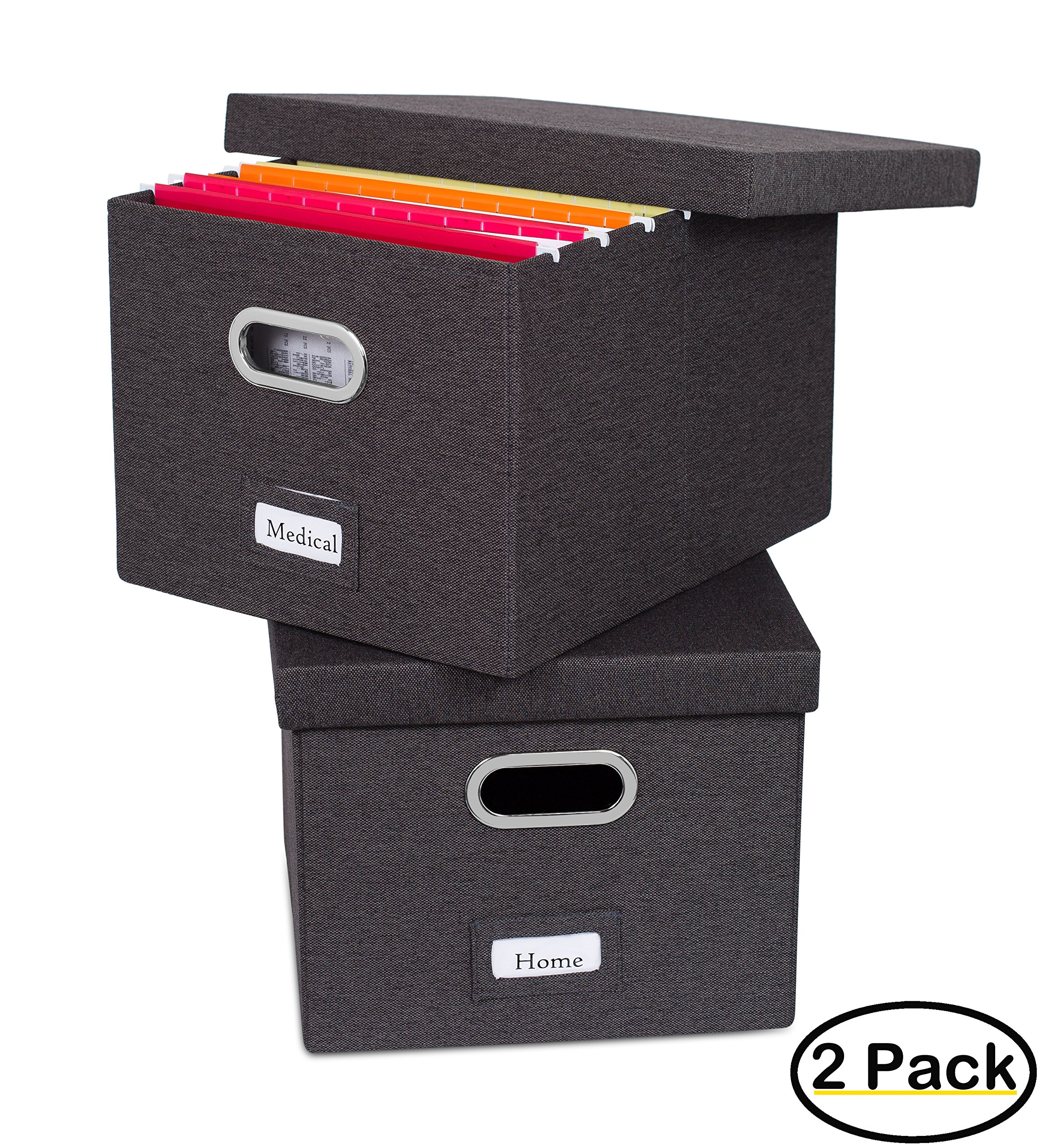 Internet's Best Collapsible File Storage Organizer - Decorative Linen Filing & Storage Office Box - Letter/Legal - Charcoal - 2 Pack by Internet's Best
