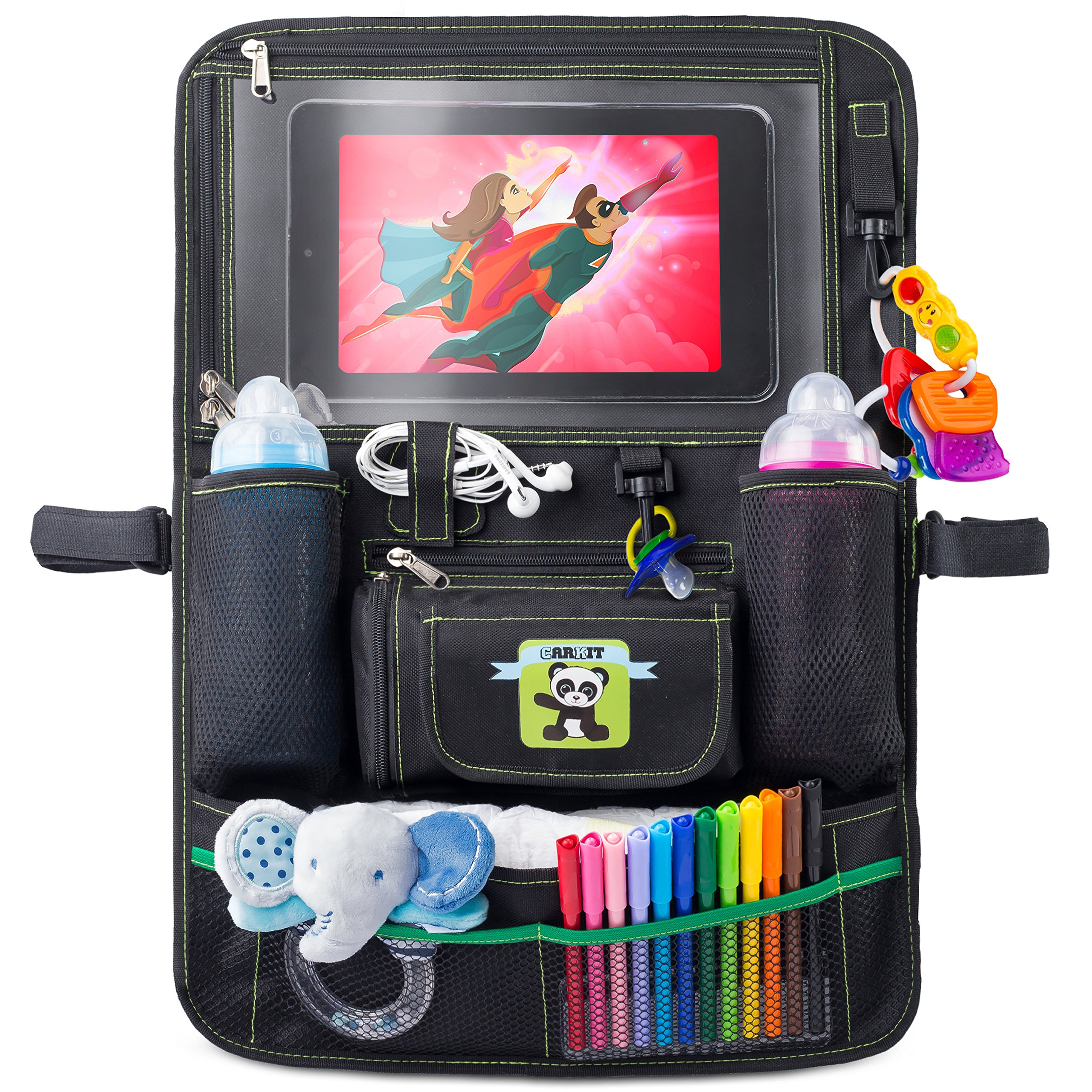 Cartik Backseat Car Organizer For Kids, Babies And Toddlers, With Tablet Holder By iPad Touch Screen, Fit To Baby Stroller, Large Storage, Kick Mat, Back Seat Protector, Organizer eBook