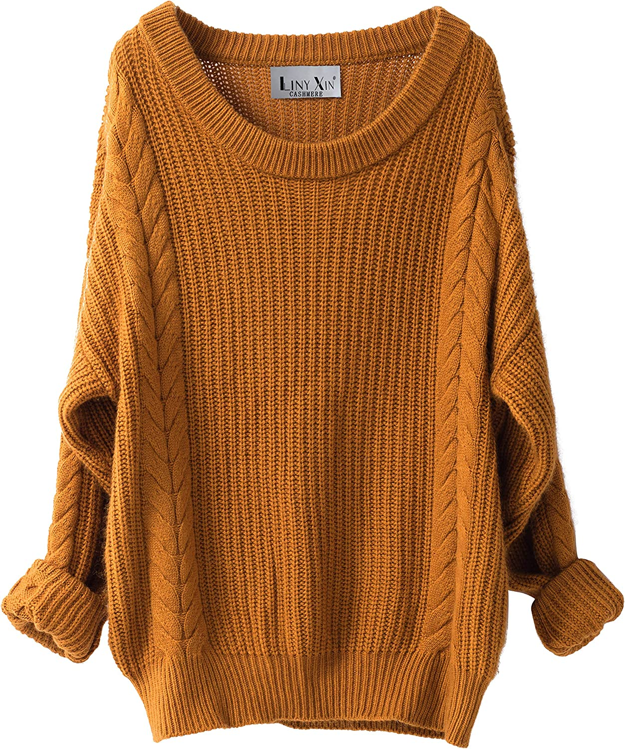 Liny Xin Women's Cashmere Oversized Loose Knitted Crew Neck Long Sleeve Winter Warm Wool Pullover Long Sweater Dresses Tops