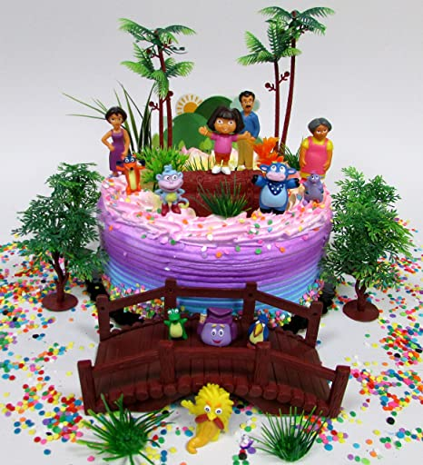 Amazon Dora The Explorer And Friends Birthday Cake Topper Set Featuring Figures Decorative Themed Accessories Toys Games