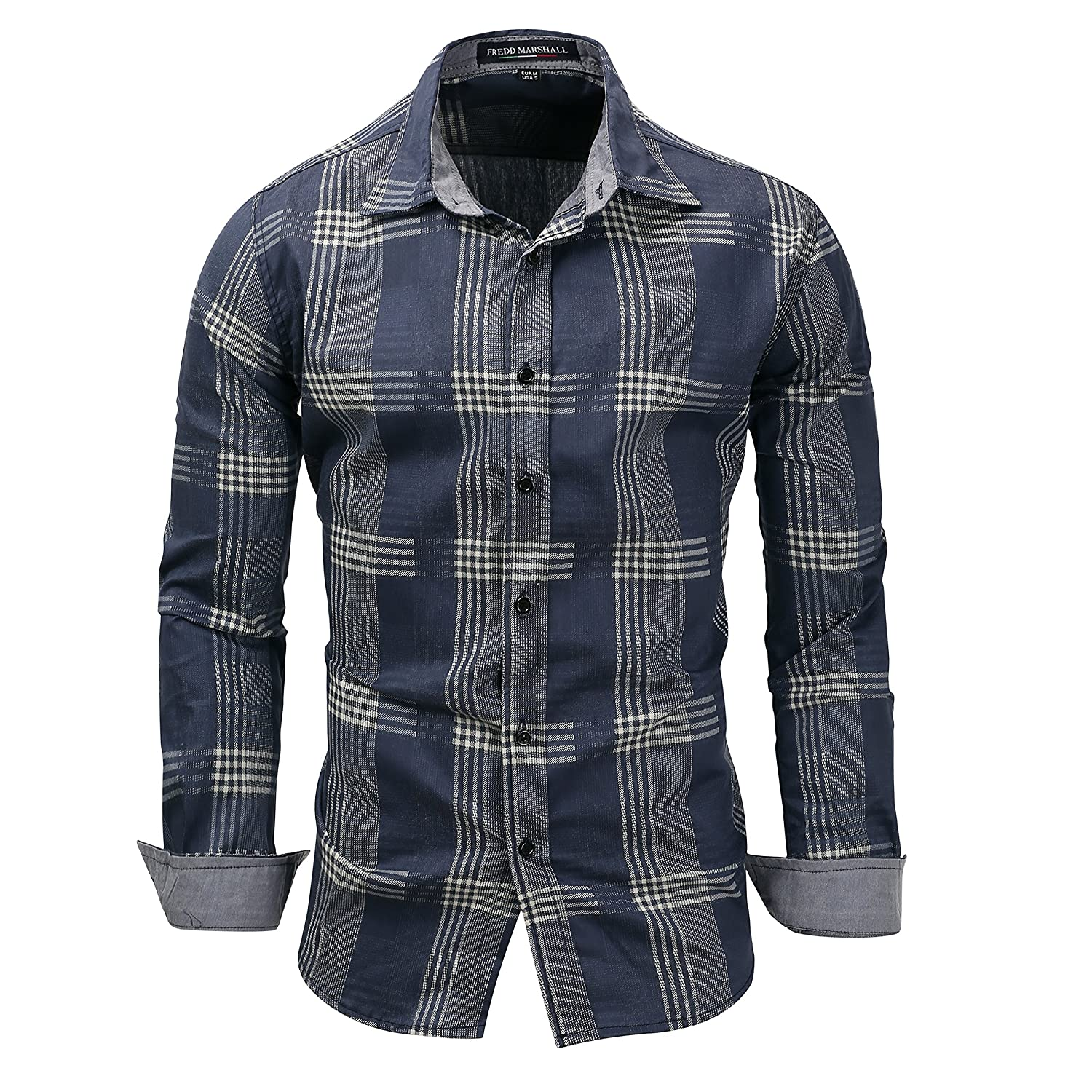Winging Day Mens Long Sleeve Plaid Slim Fit Button Down Casual 100/% Cotton Shirt
