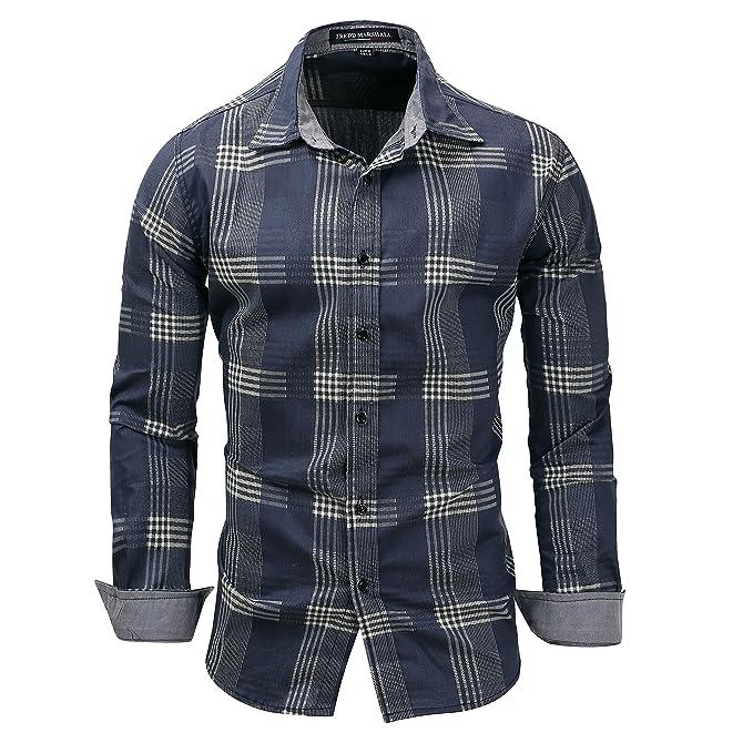 CeXin Camisa casual - Button Down - Básico - Manga Larga - para hombre VbdKb5