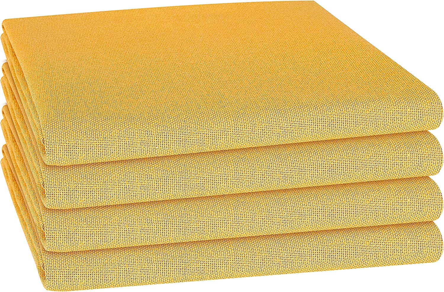 """Napkins, Set of 4, Solid, 100% Cotton, Eco Friendly and Safe, Yellow Color, For all Homes, Size 17""""X17"""" Product of Cote De Amor"""