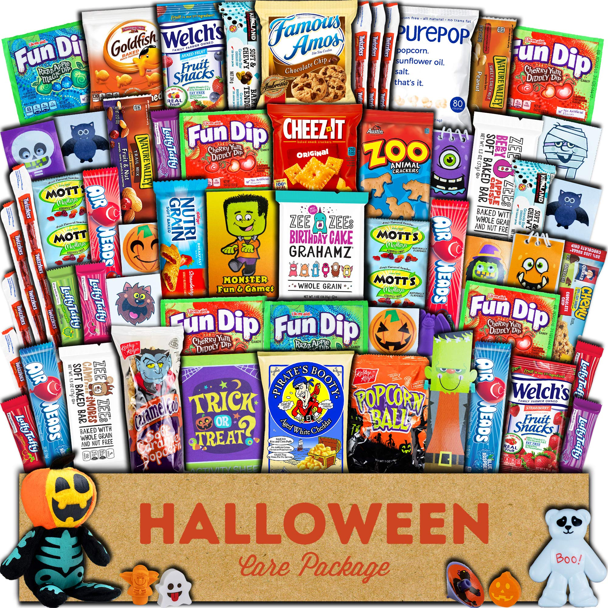 CDM product Halloween Care Package (60ct) Trick or Treat Snacks Cookies Bars Chips Candy Toys Variety Gift Box Pack Assortment Basket Bundle Mixed Bulk Sampler Treats College Students Office big image
