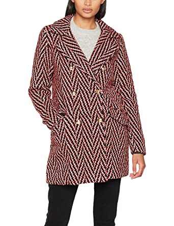 Vmparis 3/4 Jacket, Manteau Femme, Rouge (Flame Scarlet Pattern:Black&White), 40 (Taille Fabricant: Large)Vero Moda