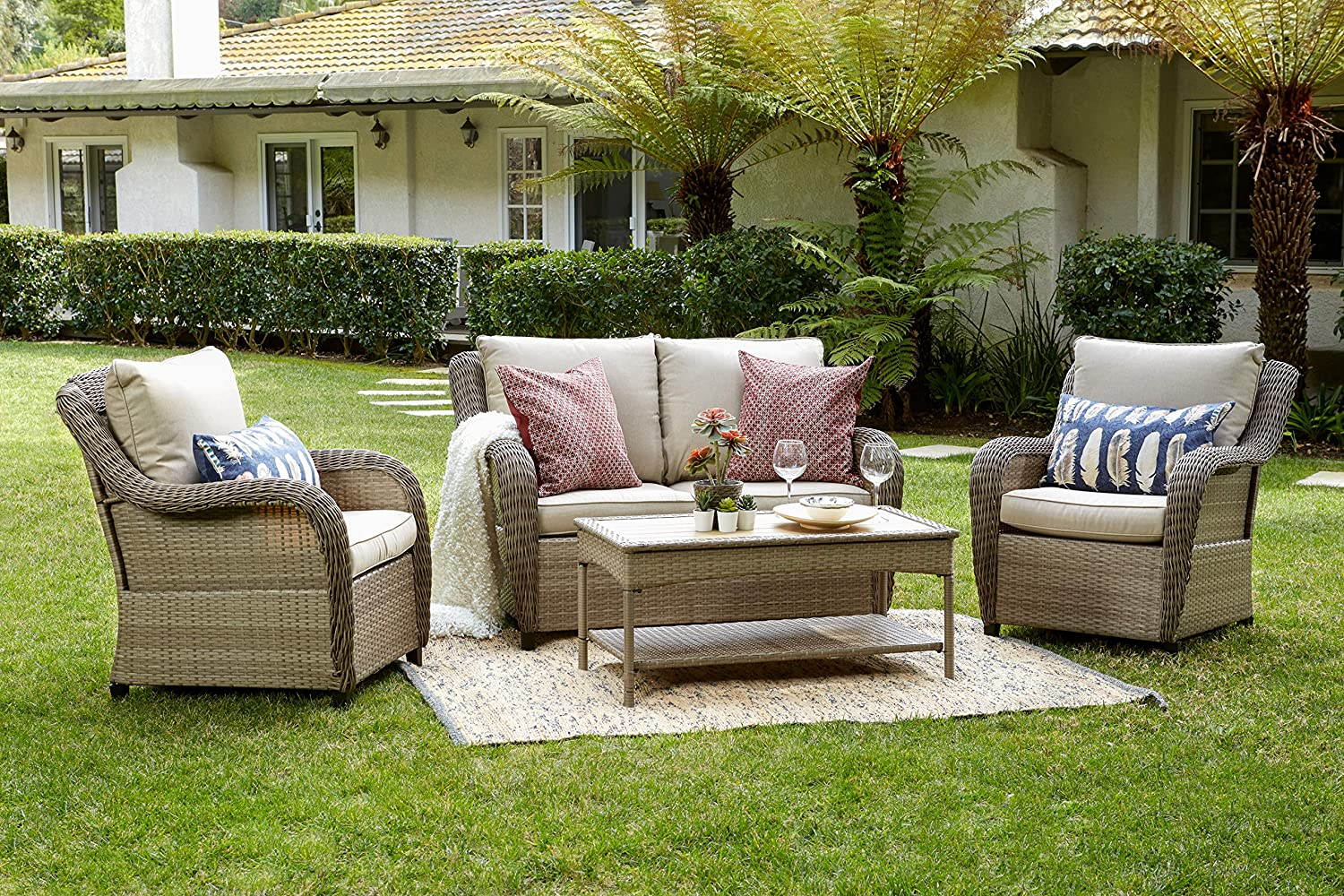 Quality Outdoor Living 65-517298 Houston All-Weather Wicker 4 Piece Deep Seating Set, Tan Cushions