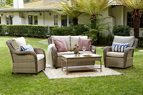 Quality Outdoor Living 65-517298 Houston All-Weather 4 Piece Deep Seating Set, Tan Wicker Tan Cushions