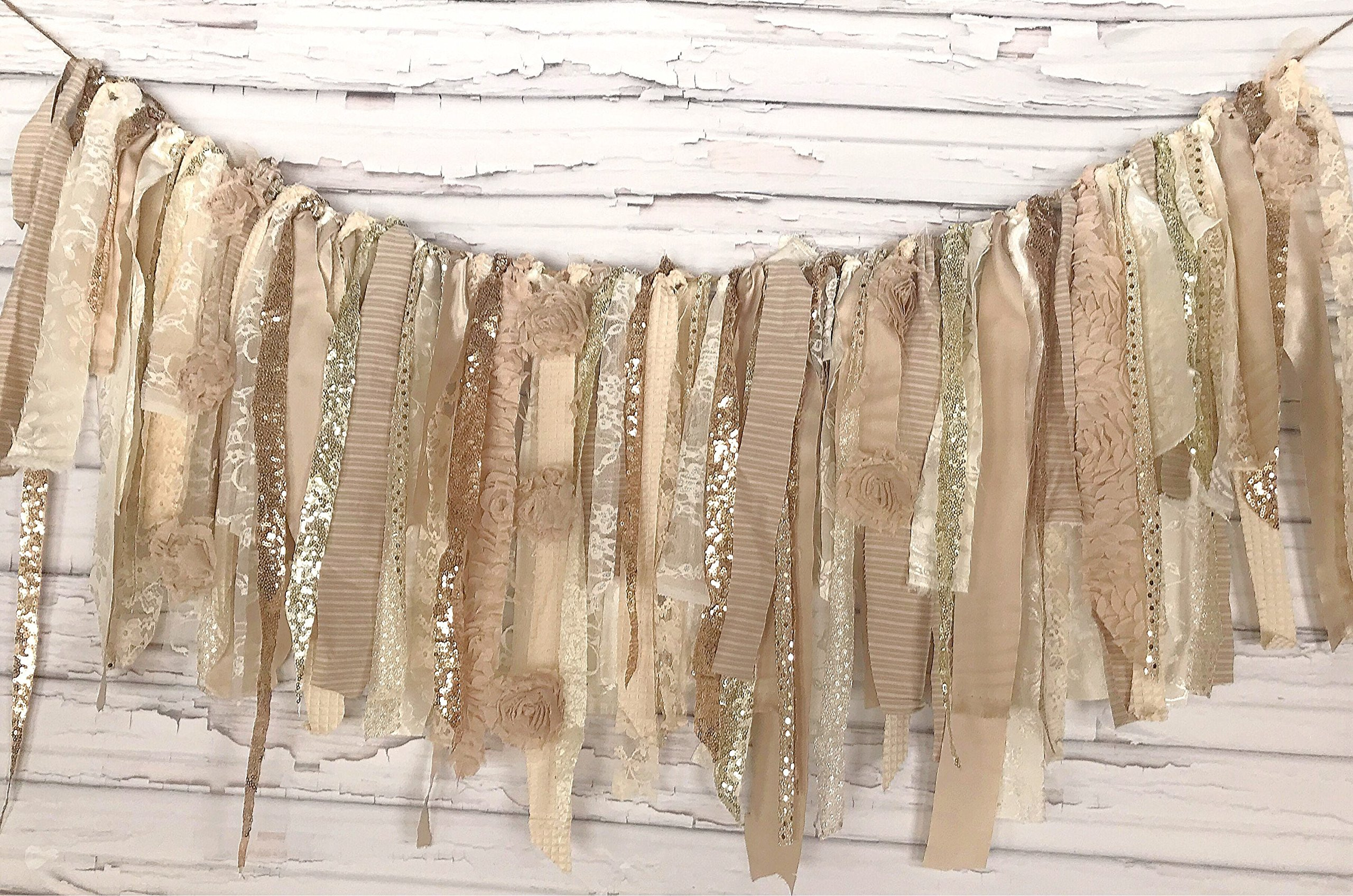 Neutral Gold Glitz Shabby Chic Rag Tie Garland: ~ Photo Shoot ~ Wedding ~ Birthday ~ Nursery ~ Bridal Shower ~ Highchair Banner ~ Gender Reveal Parties ~ Decorations ~ Wall Decor! (5 FEET WIDE)