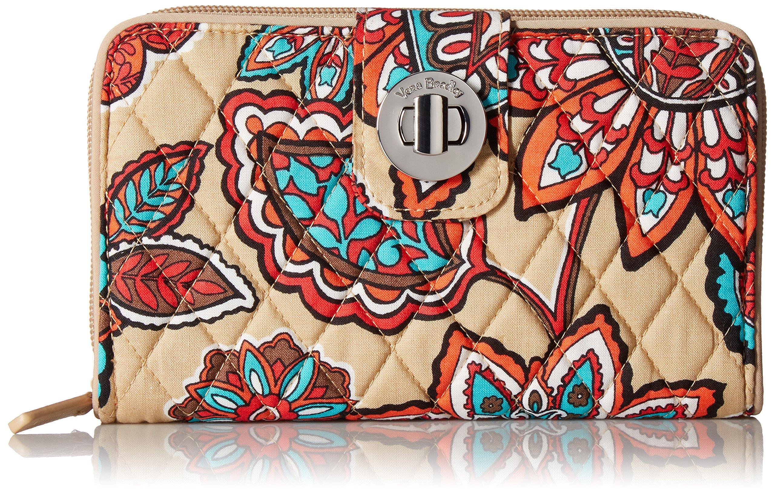 Vera Bradley Rfid Turnlock Wallet, Signature Cotton, Desert Floral + 1.50 Power