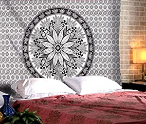 "The Indian Craft Traditional Rajasthani Decor - Floral Tapestry Wall Hanging Bohemian Elephant Wall Art Tapestries Hippie Boho Pure Cotton Bedding - Black and White - 84"" x 54"""