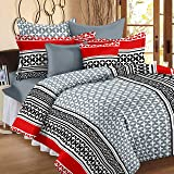 Story@Home 120 TC Cotton Abstract Printed Double Bedsheet with 2 Pillow Covers -  Multicolor