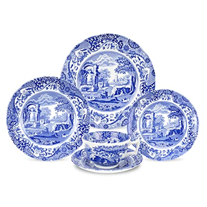 Spode Blue Italian 5-Piece Place Setting  sc 1 st  Amazon.com & Amazon.com | Spode Blue Italian 5-Piece Place Setting: Dinnerware ...