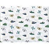 Authentic Kids Multicolor on White Airplane Cotton Sheet Set, Full Size