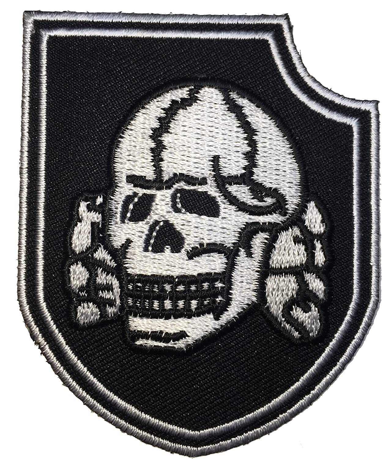 Amazon Patch Squad Mens Black Death Head Skull Bone Shield Embroidered Clothing