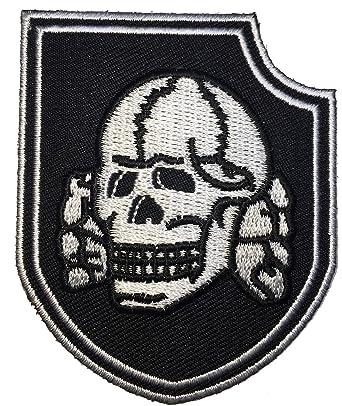 Patch Squad Mens Black Death Head Skull Bone Shield Embroidered
