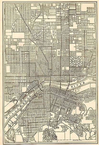 Amazon.com: 1918 Antique Portland Map Original Vintage Map of ...