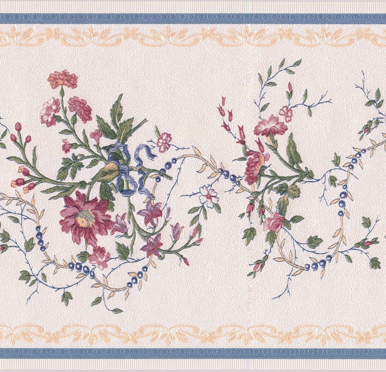 Amazon Com Pink Flowers Blue Berries Floral Beige Wallpaper