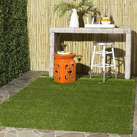 Safavieh Vista Shag Collection VST100A Verdant Green Indoor/Outdoor Faux  Grass Area Rug (4