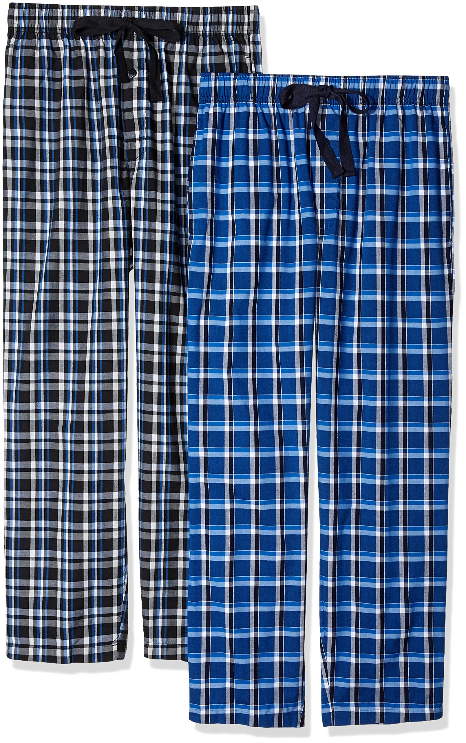 Fruit of the Loom Men's 2-Pack Woven Pajama Pant Set, Black/Navy, Small