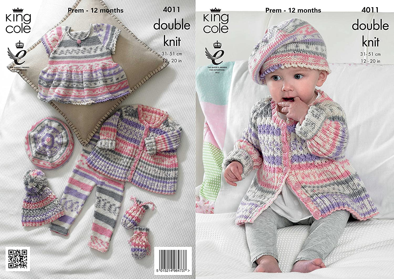 UKHKA 109 Baby Cardigans DK KNITTING PATTERN Prem - 12months