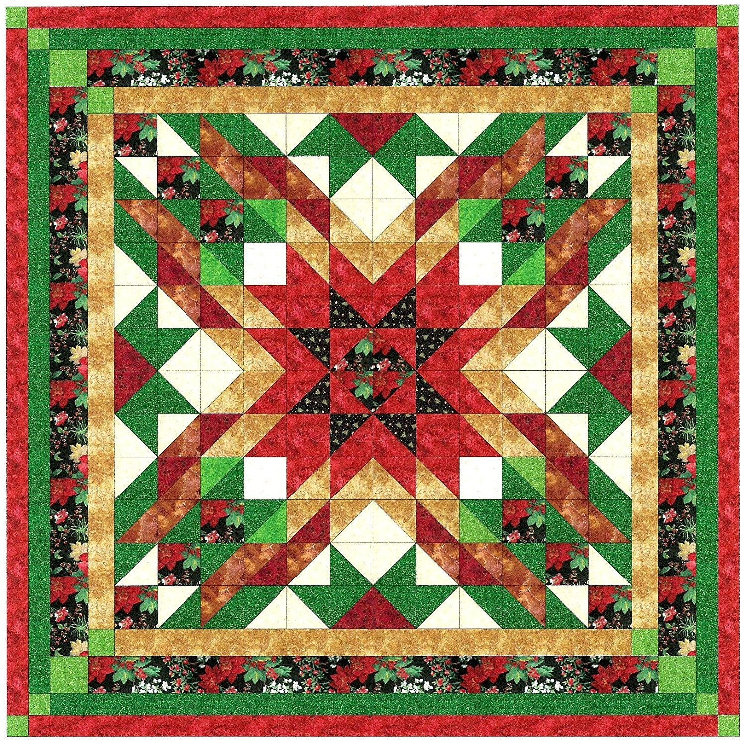 Quilt Kit Christmas Star/Queen/Expedited Shipping by Material Maven