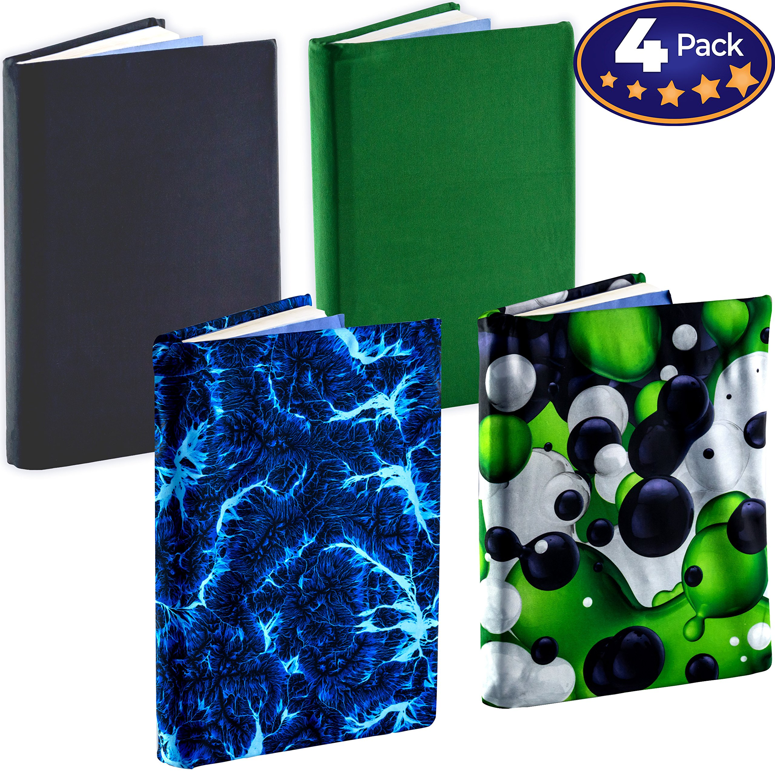 Jumbo, Stretchable Book Cover Color 4 Pack. Fits Most Hardcover Textbooks up to 9 x 11. Adhesive-Free, Nylon Fabric Protectors are A Needed School Supply for Students. (Bold 2)