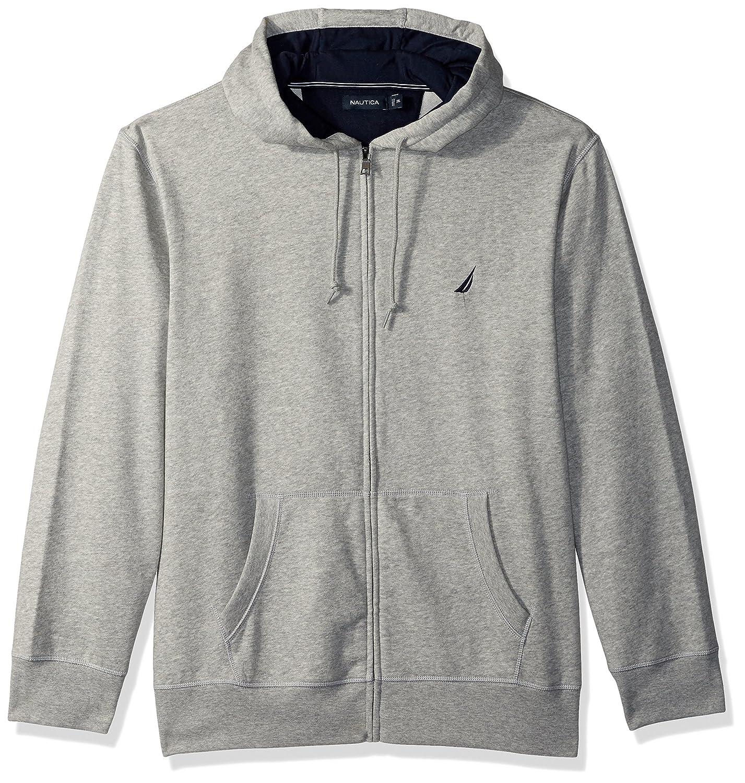 Nautica Mens Chest Logo Zip Front Long Sleeve Hoodie