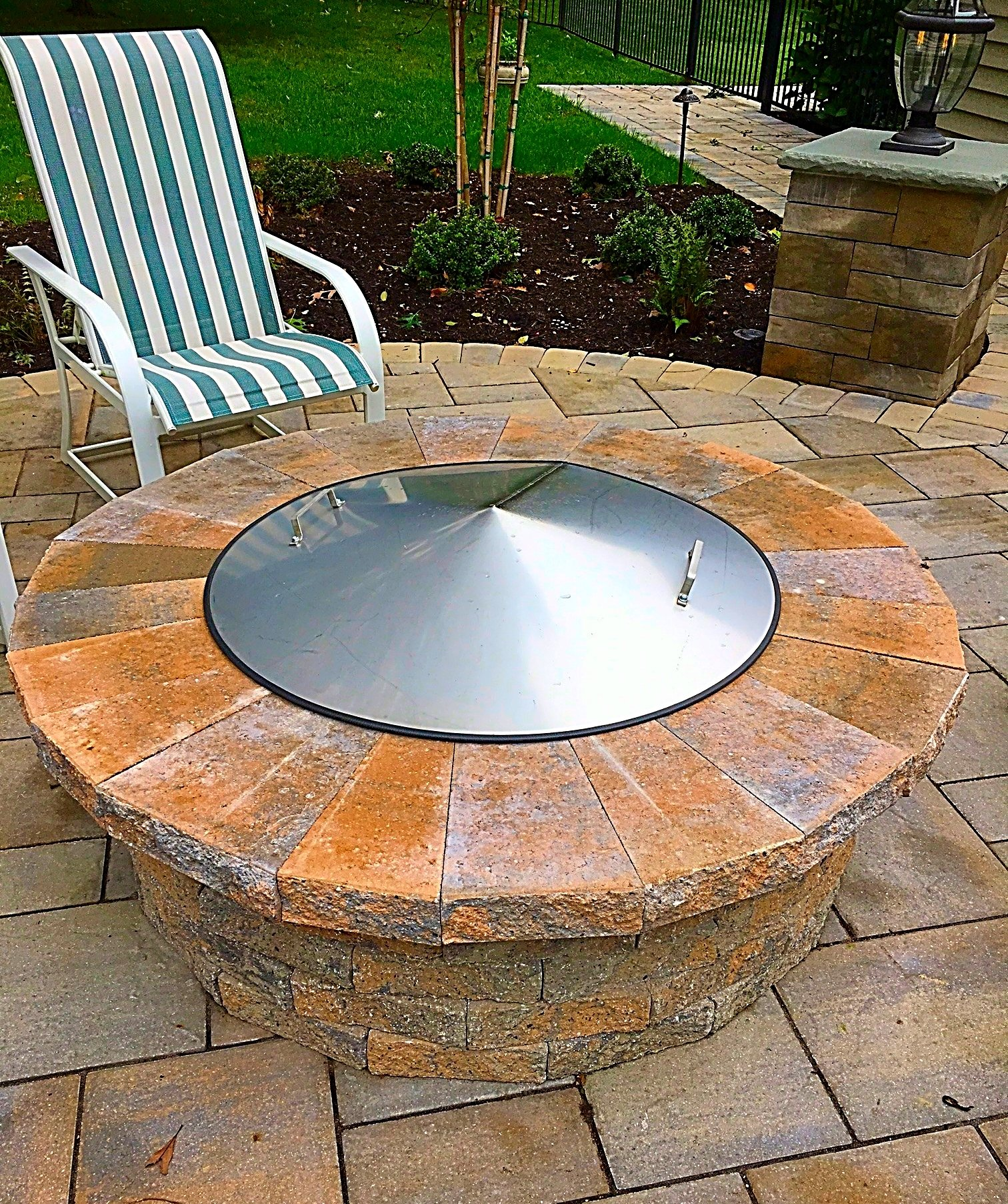 42 Diameter Round Stainless Steel Metal Fire Pit Spark Screen Cover Lid Top by Higley Fire Pit Covers