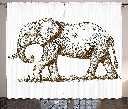 Ambesonne Elephant Curtains African Safari Animal Sketchy Style Mammal Modern Wilderness Artistic Illustration Living