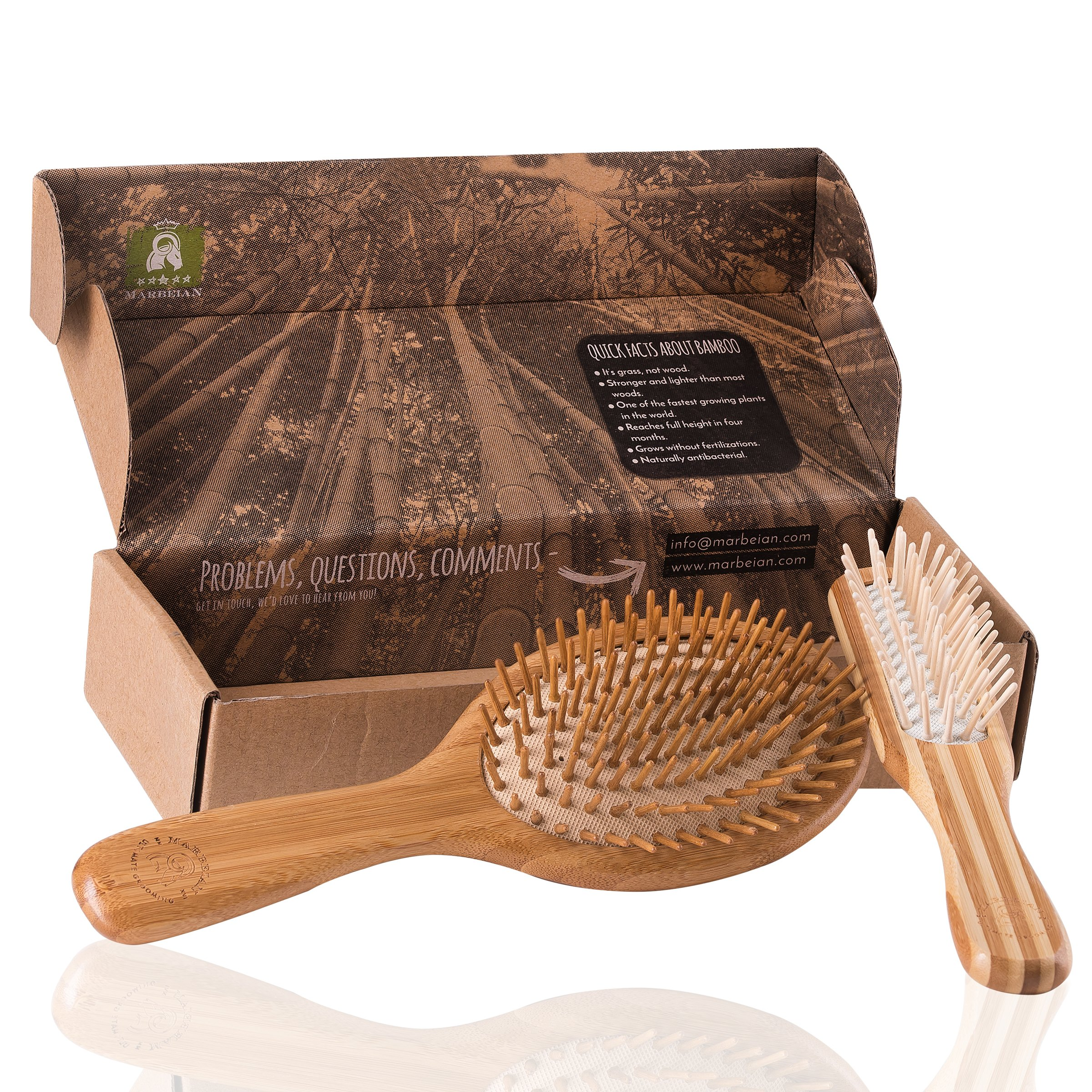 Natural Bamboo Hair Brush Set by Marbeian, Best Choice For Styling, Perfect For Men, Women, Kids & All Hair Types, Easy Glide Through