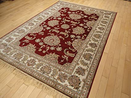 Luxury Silk Red Red Rugs for Living Room 5 X7 High End Red Rugs for Bedroom  5x8 Area Rug Reds Cream Traditional Rugs for Living Room (Medium 5\'x8\')
