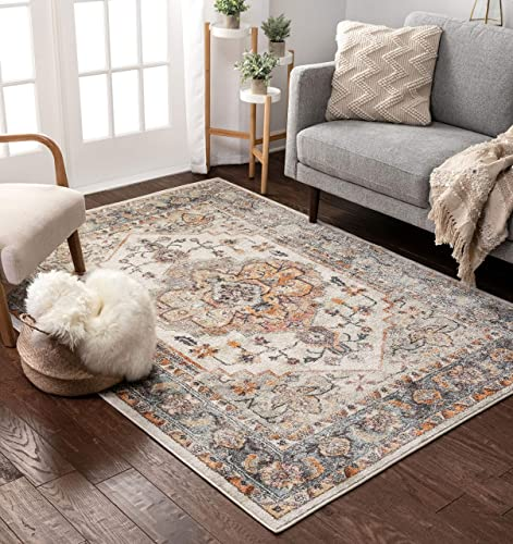 """Well Woven Cameo Bohemian Vintage Ivory Multicolor Oriental Medallion Pattern Area Rug 5x7 5'3"""" x 7'3"""""""