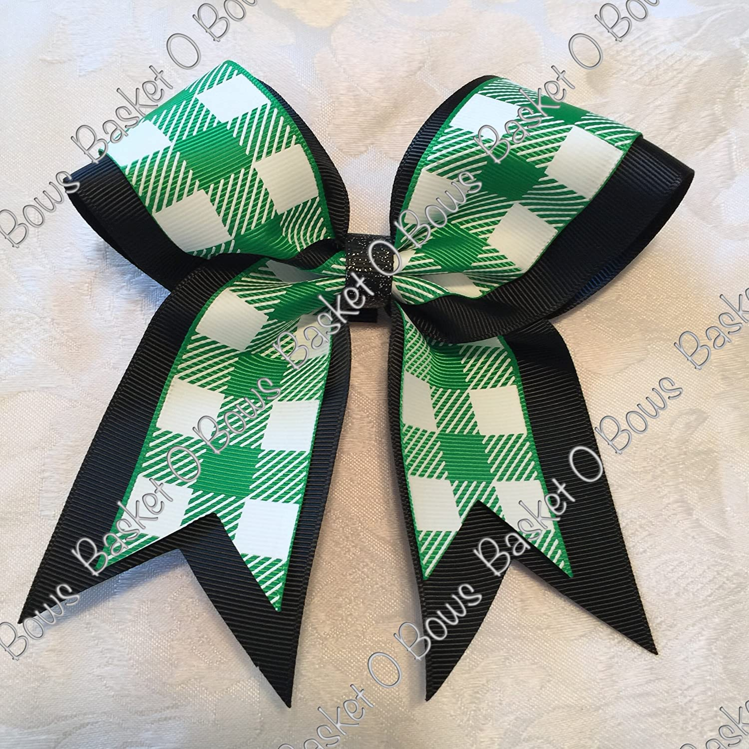 Small Bow ~ Emerald Green with White Buffalo Plaid Hair Bow ~ 2-layer ~ Made to Order