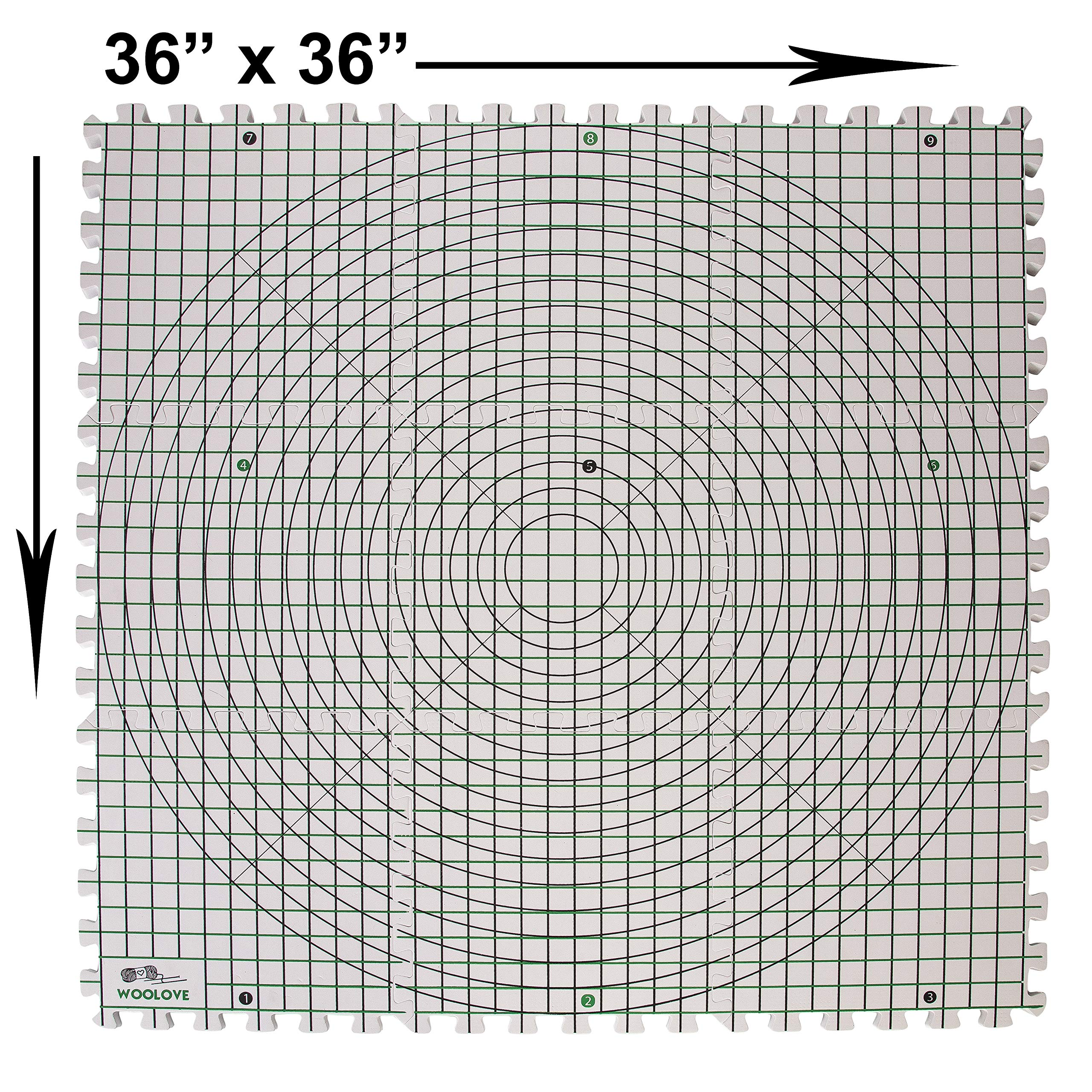 Extra Thick Blocking Mats for Wet and Steam Blocking with Grids and Radial Circles - Set of 9 Marked with Numbers Includes 100 t pins and Storage Bag by WOOLOVE (Image #7)