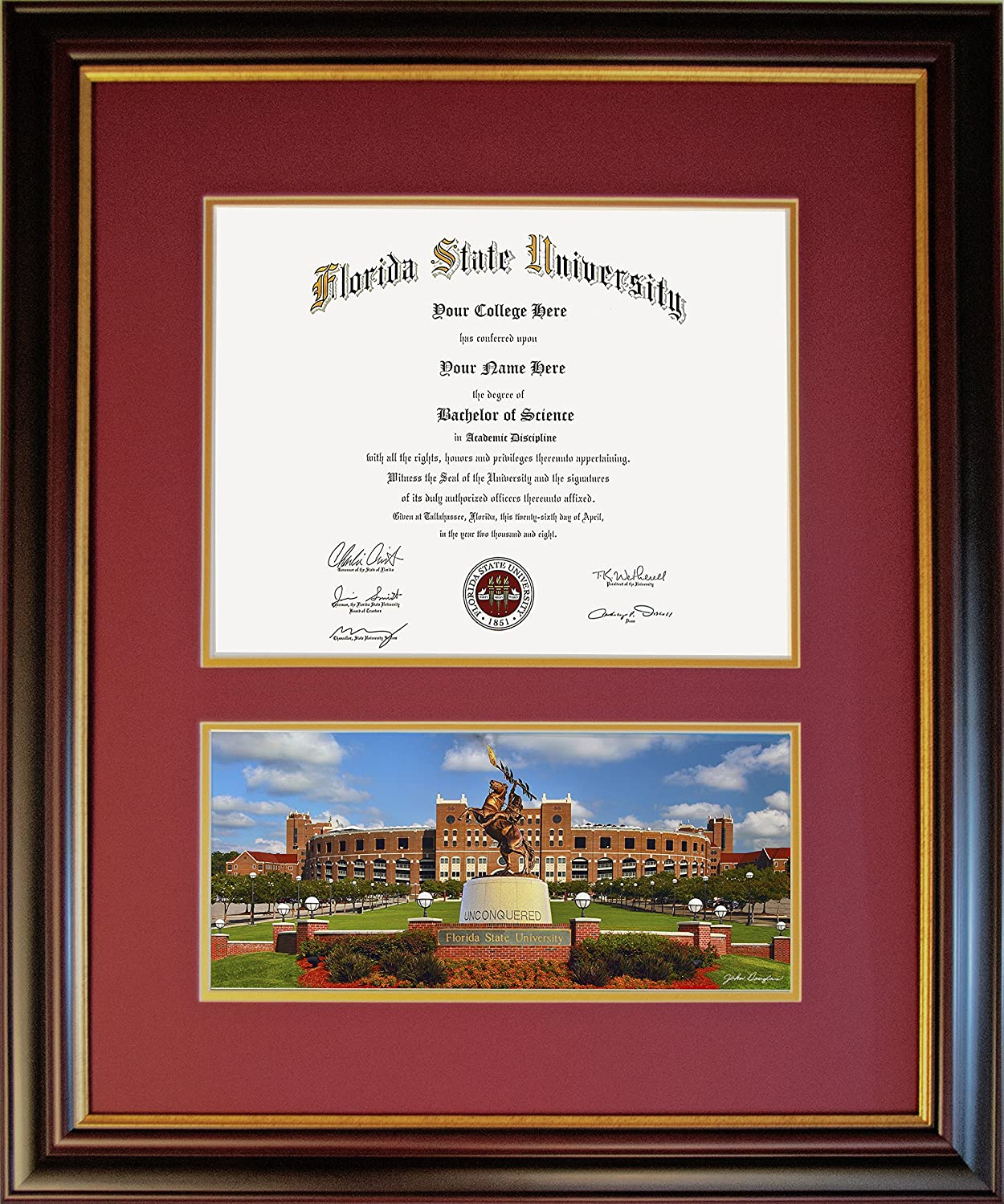 PicturesPlus-Art Diploma Frame for Florida State University - Unconquered