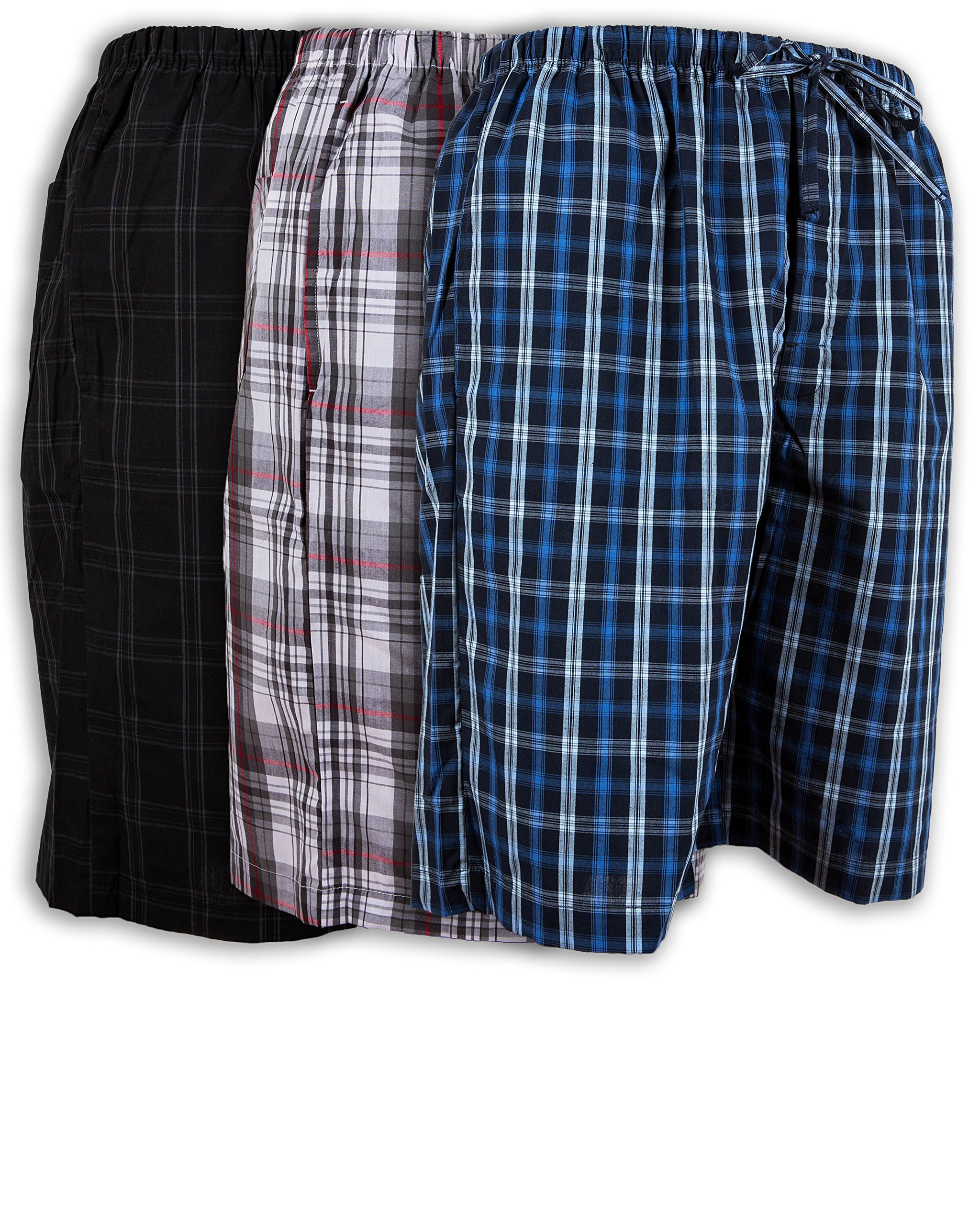 Men's 3 Pack Super Soft Woven Pajama & Sleep Jam Cargo Short Lounge Pants (Large, 3 Pack - Assorted Brilliant Plaids)