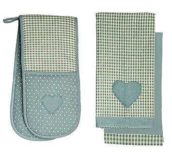Estilo Retro Vintage Home verde y crema de cuadros/lunares toallas de té y juego de guante doble para el horno: Amazon.es: Hogar