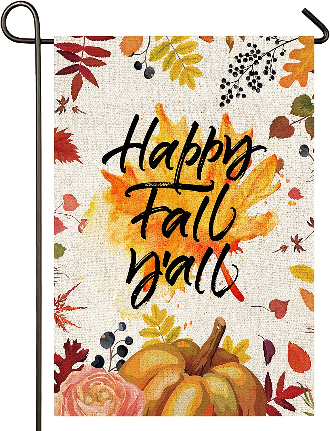 Atenia Happy Fall Yall Pumpkin Burlap Garden Flag, Double Sided Pumpkin Garden Outdoor Autumn Yard Flags (Garden Size - 12.5X18)