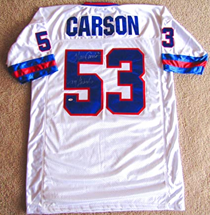 6f2c52d50 Image Unavailable. Image not available for. Color  Harry Carson Autographed  Custom White Jersey - New York Giants Inscription