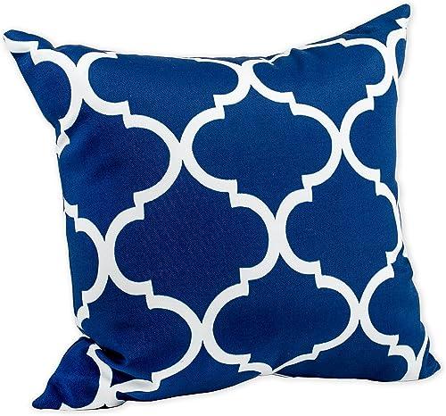 Landmark Navy Blue Moroccan Tile Print 16 x 16 Indoor Outdoor Throw Pillow
