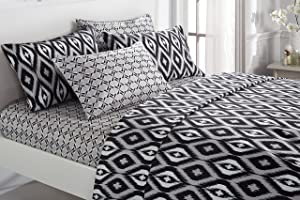 Chic Home 6 Piece Arundel Ikat Diamond and Contemporary Geometric Pattern Print Technique King Sheet Set Black