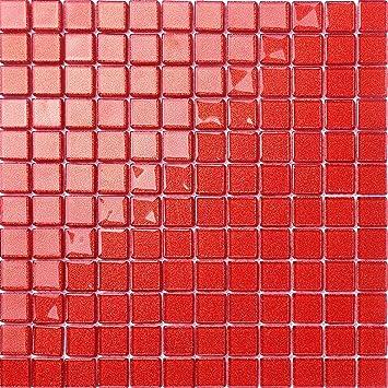 30x30cm Rot Mit Glitzer Glas Mosaik Fliesen Matte Mt0128 Amazon