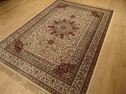 Silk Ivory Rug Persian Style Tabriz Rug 5x8 Living Room Rugs 5x7 Ivory  Cream Carpet Area